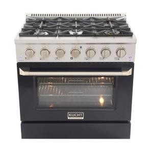 Pro-Style 36 in. 5.2 cu. ft. Propane Gas Range with Convection Oven in Stainless Steel and Black Oven Door