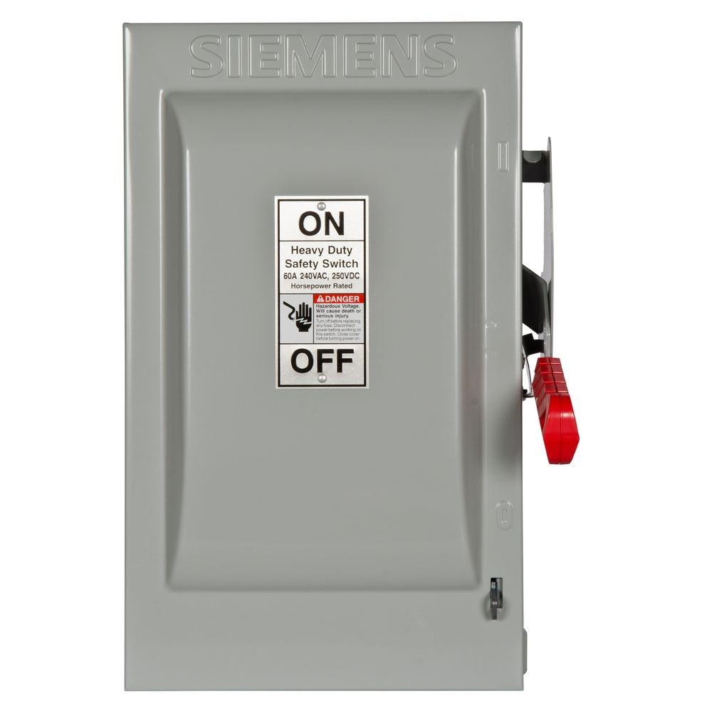 Heavy Duty 60 Amp 240-Volt 3-Pole Indoor Fusible Safety Switch with