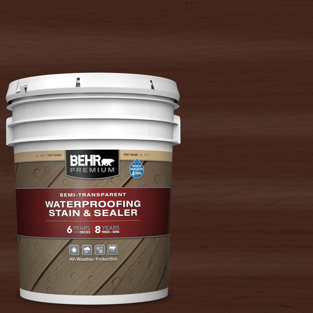BEHR PREMIUM 5 gal. #ST-117 Russet Semi-Transparent Waterproofing Exterior Wood Stain and Sealer