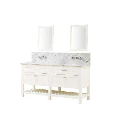 Preswick Spa Premium 70 in. W x 25 in. D Vanity with Marble Vanity Top in White Carrara with White Basin and Mirrors
