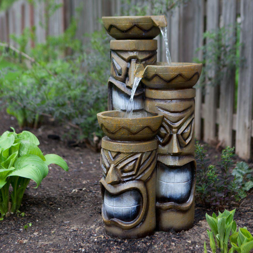 Alpine 29 in. Tiki Fountain with LED Lights