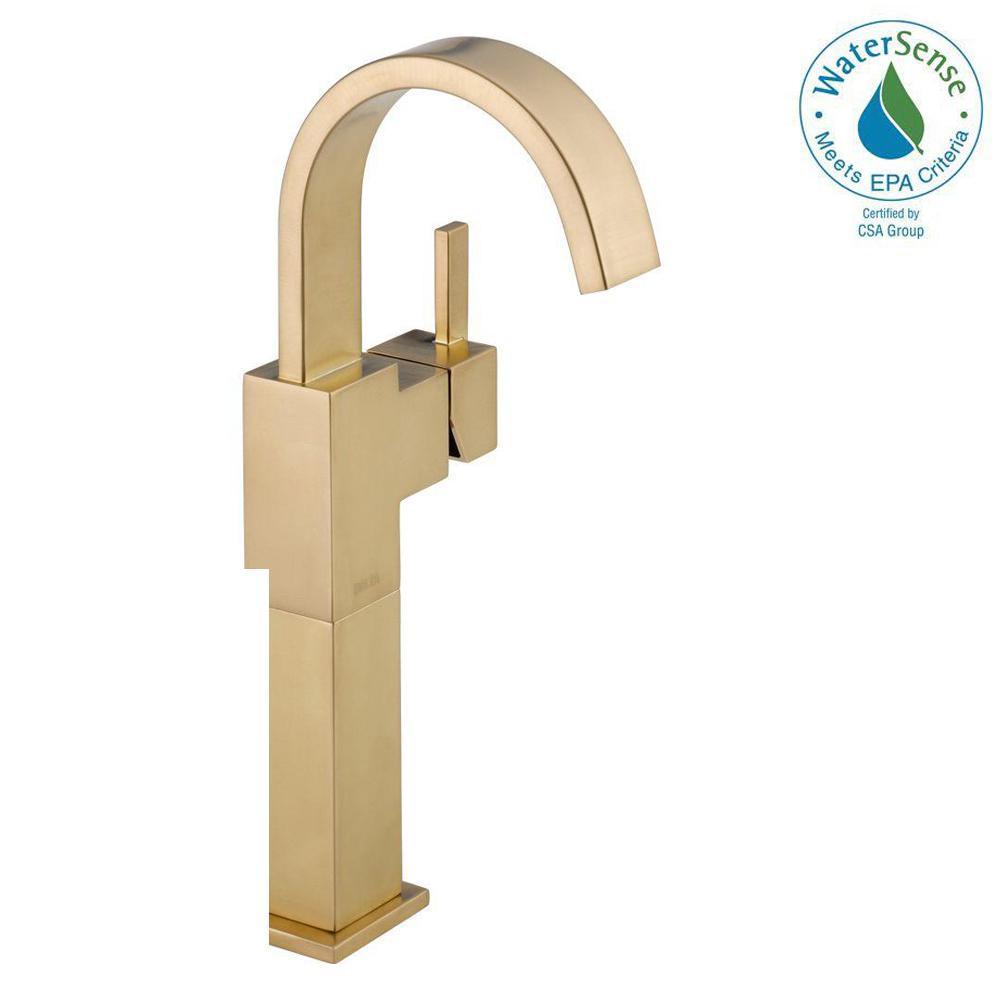 Delta Vero Single Hole Single-Handle Vessel Bathroom Faucet in Champagne Bronze