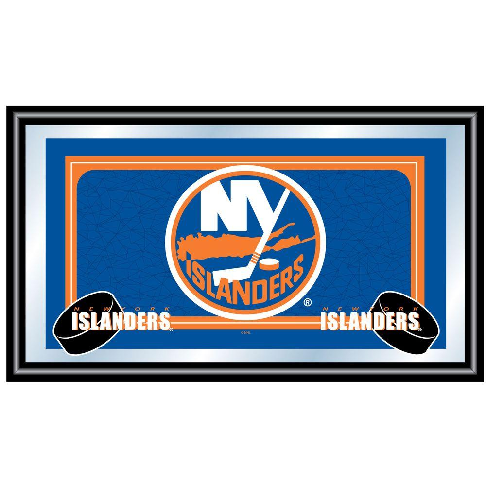 Trademark NHL New York Islanders Logo 15 in. x 26 in. Black Wood Framed Mirror