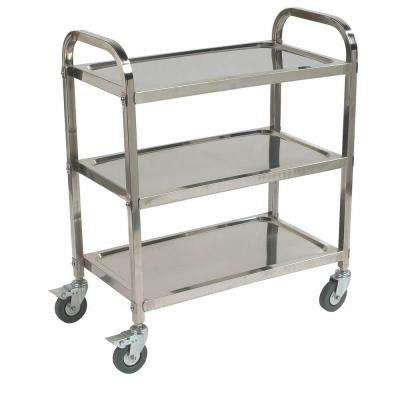 35.75 in. H x 17.5 in. W x 29.50 in. D  Knockdown Stainless Steel 3-Shelf Utility Cart