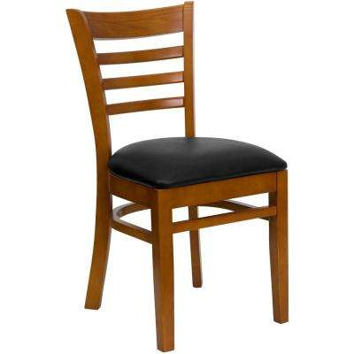 Hercules Series Cherry Ladder Back Wooden Restaurant Chair with Black Vinyl Seat