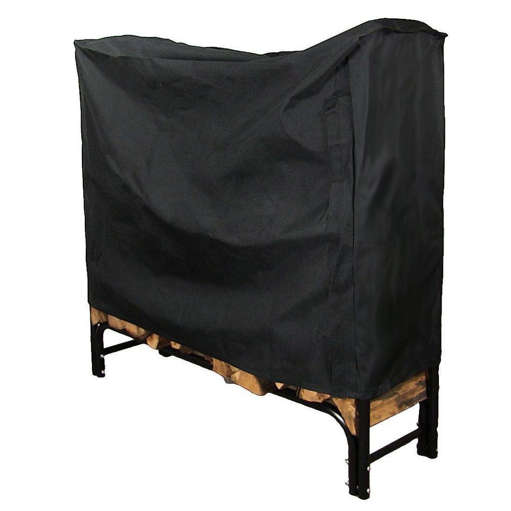 4 ft. Black Heavy-Duty Firewood Log Rack Cover