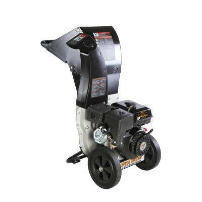 5.25 x 3.75 in. 445cc Self Feed Gas Chipper Shredder with 120V Electric Start, Unique 3-in-1 Discharge, Gloves, Goggles