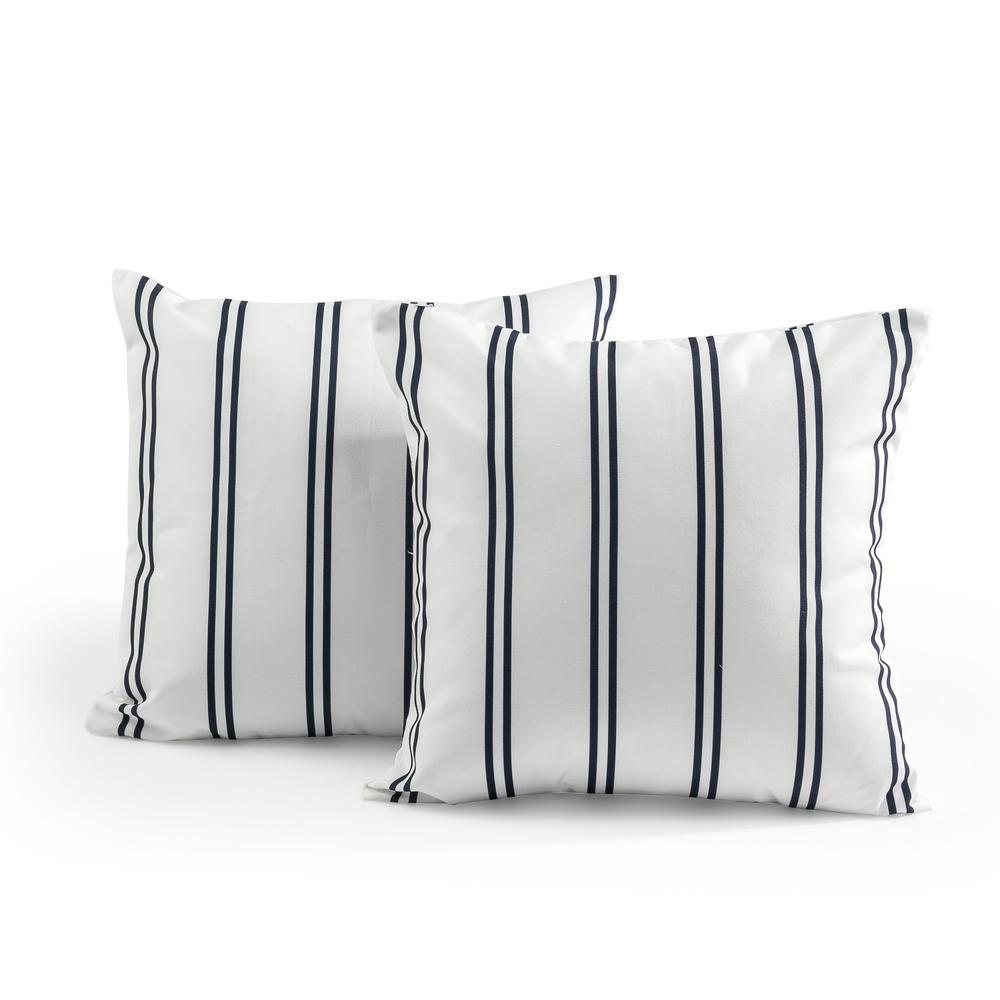Tecoria Navy Candy Stripe Outdoor Square Throw Pillow Set