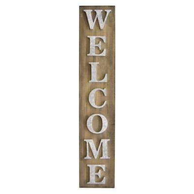 Novelty Sign-Welcome Finished in Brown - 8.75 X 1.5 X 44.5