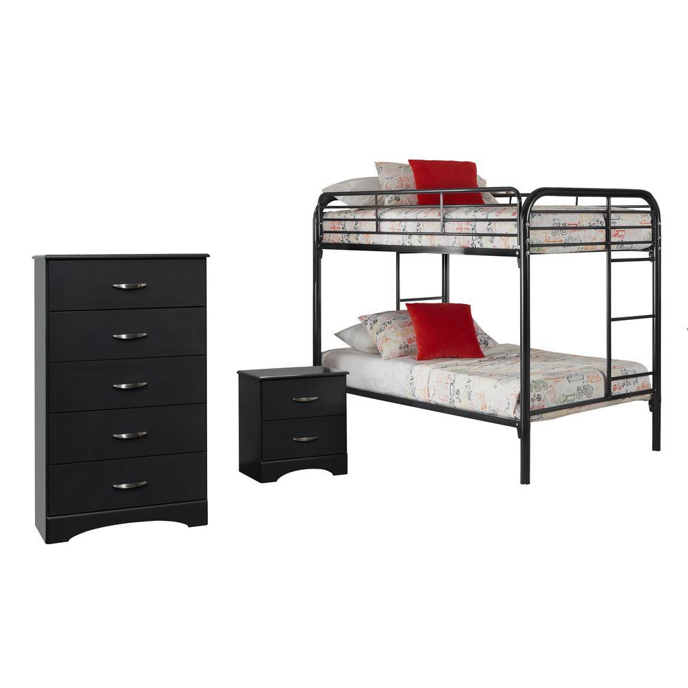 Jacob Collection 115K3TT 3-Piece Black Twin Bedroom Set