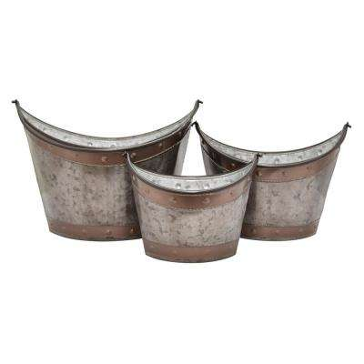 13.5 in. Galvanized Containers (Set of 3)