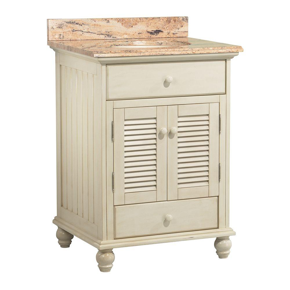 Home Decorators Collection Cottage 25 in. W x 22 in. D Vanity in Antique White with Vanity Top and Stone Effects in Bordeaux