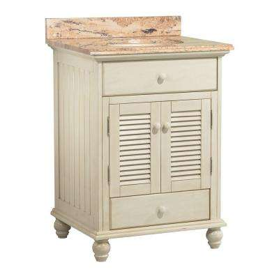 Cottage 25 in. W x 22 in. D Vanity in Antique White with Vanity Top and Stone Effects in Bordeaux