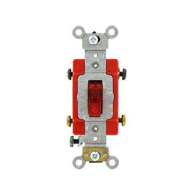 20 Amp Industrial Grade Heavy Duty Double-Pole Pilot Light Toggle Switch, Red