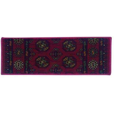 Kurdamir Boukara Crimson 9 in. x 33 in. Stair Tread Cover
