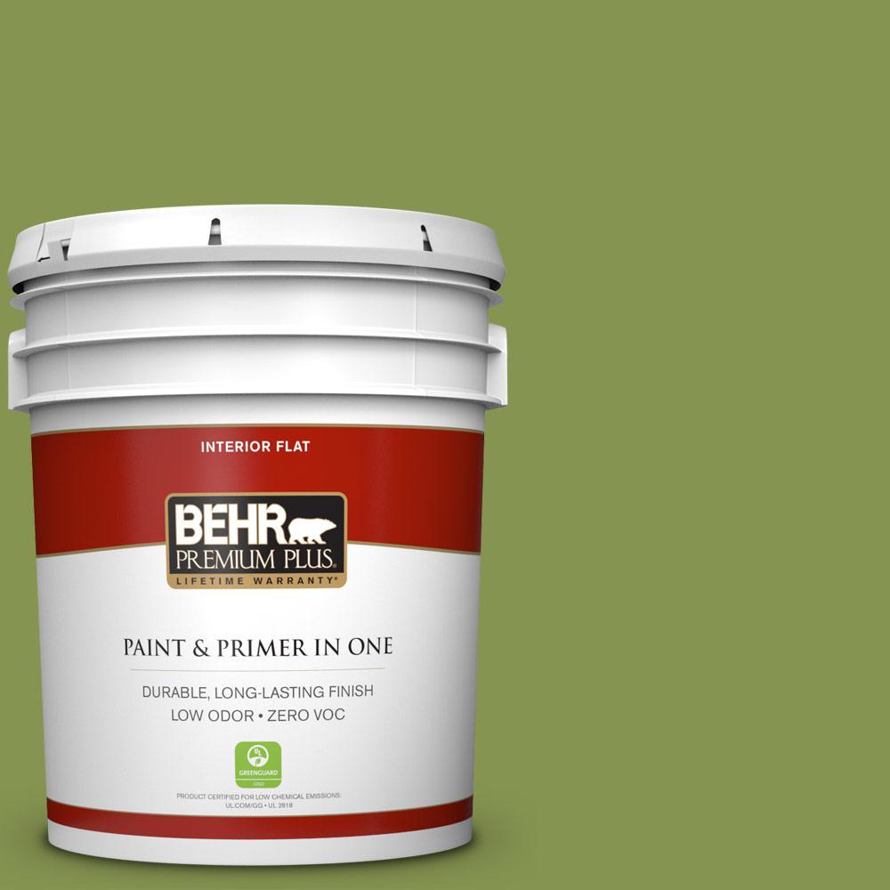 5 gal. #M360-6 Bold Avocado Flat Zero VOC Interior Paint and