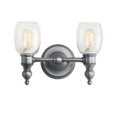 2-Light Aged Silver Vanity Light with Seeded Glass Shade
