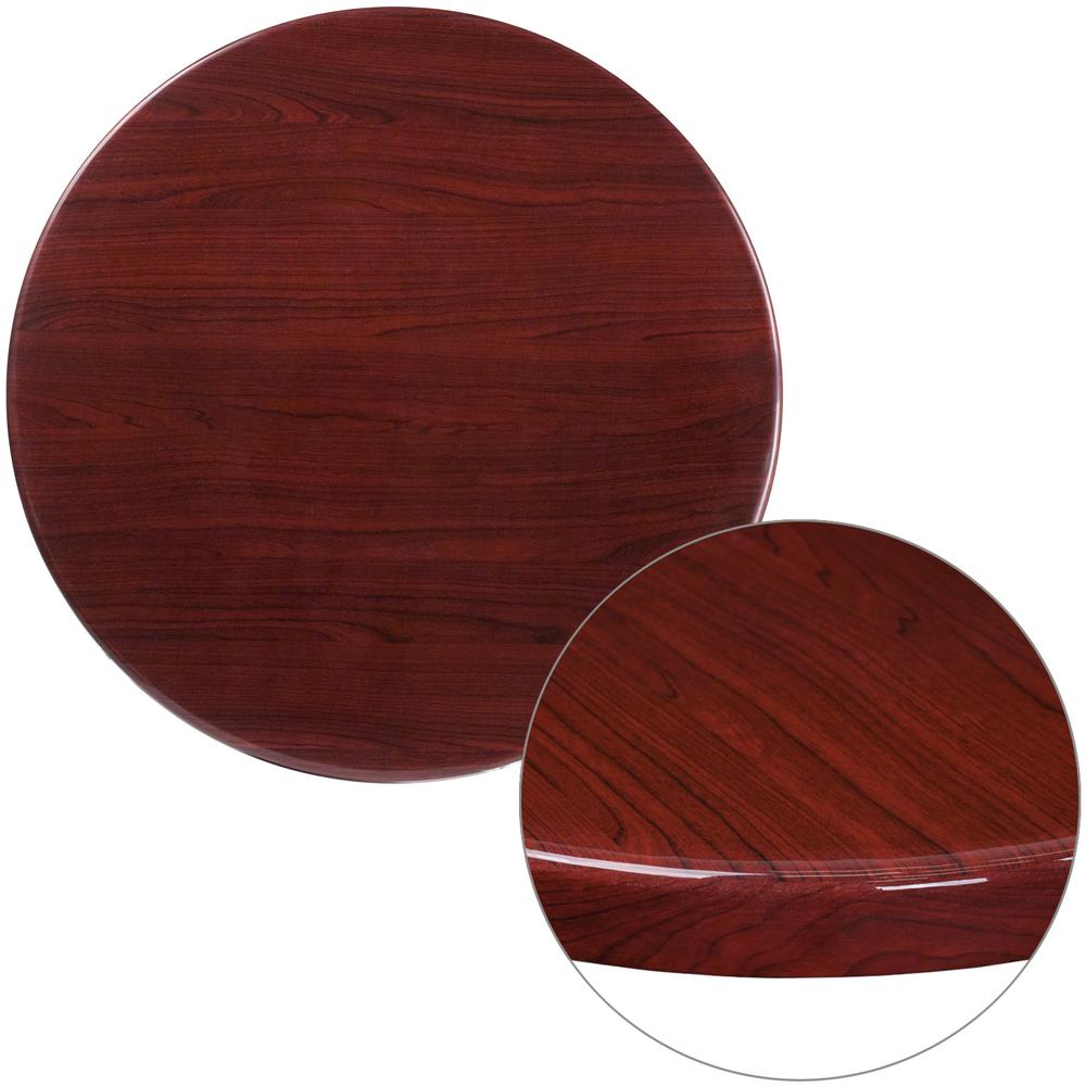 30 in. Round High-Gloss Mahogany Resin Table Top with 2 in.