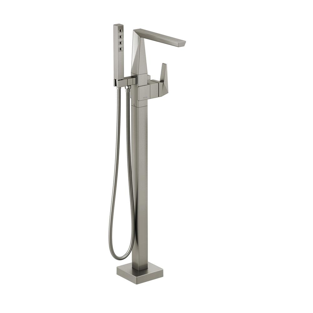 Trillian 1-Handle Floor Mount Tub Filler Trim Kit in Stainless with Hand Shower (Valve Not Included)