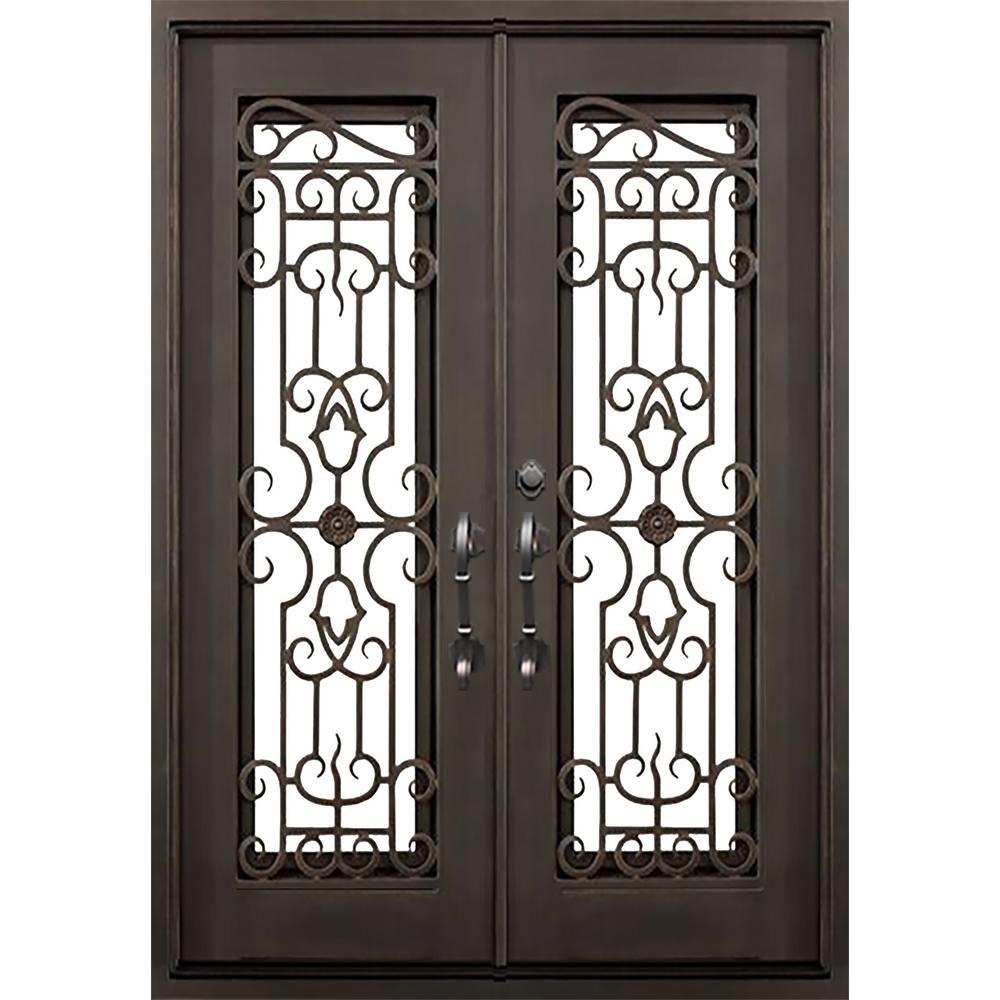 ALLURE IRON DOORS & WINDOWS 72 in. x 82 in. Tampa Dark Bronze Classic Full Lite Painted Wrought Iron Prehung Front Door (Hardware Included)