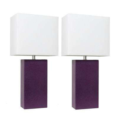 Modern 21 in. Eggplant Leather Table Lamps with White Fabric Shades (2-Pack)