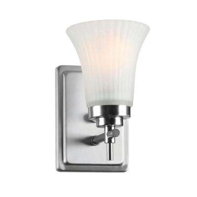 1-Light Steel Sconce with Frost Glass