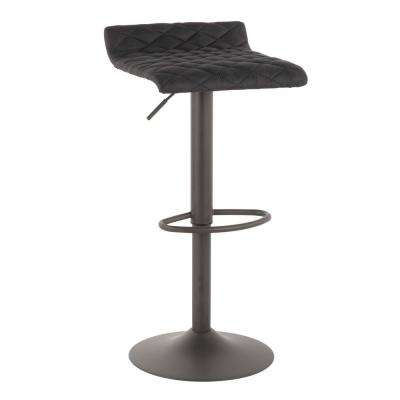 Cavale Adjustable 22-31 in. Grey and Black Barstool