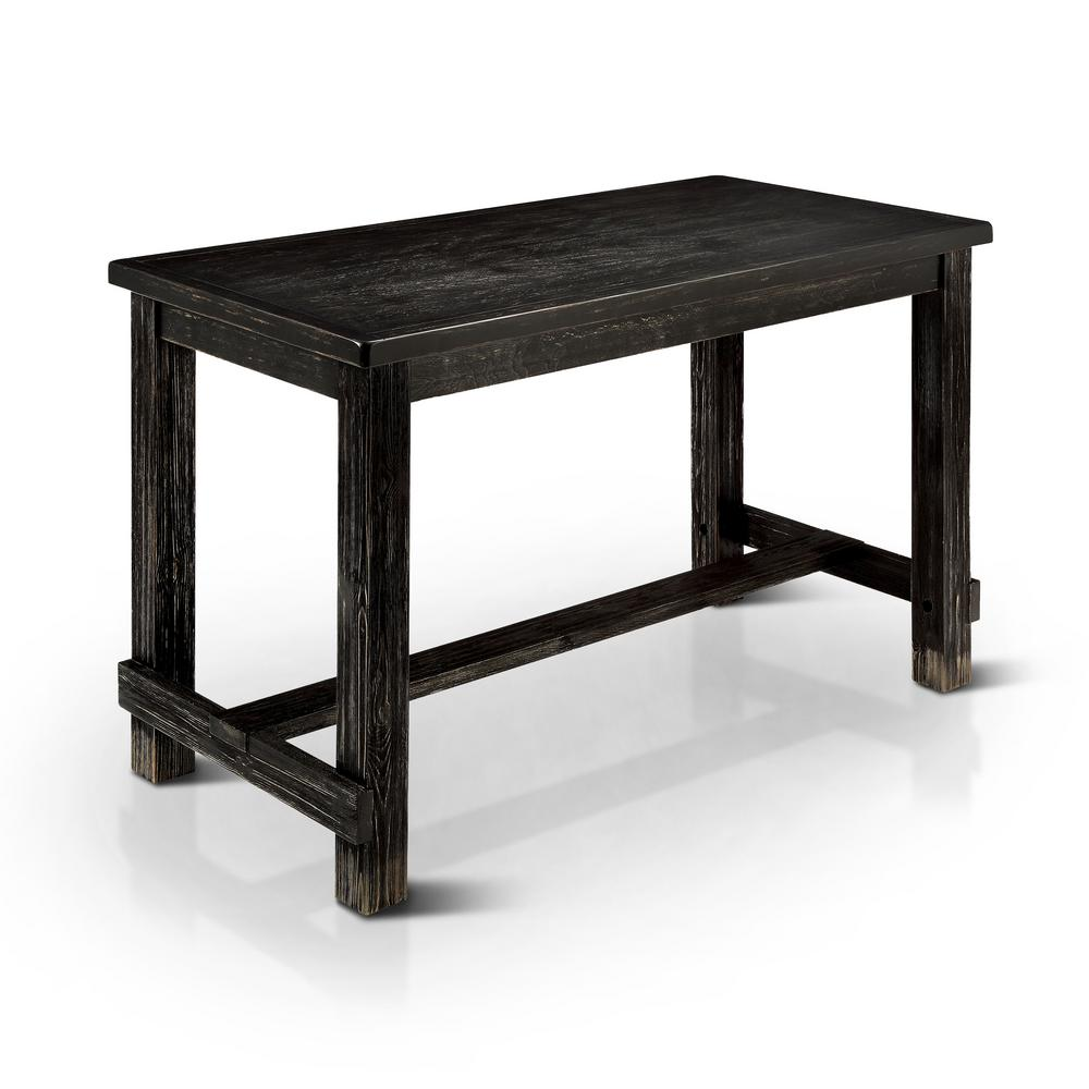 Furniture of america kellil antique black counter height table