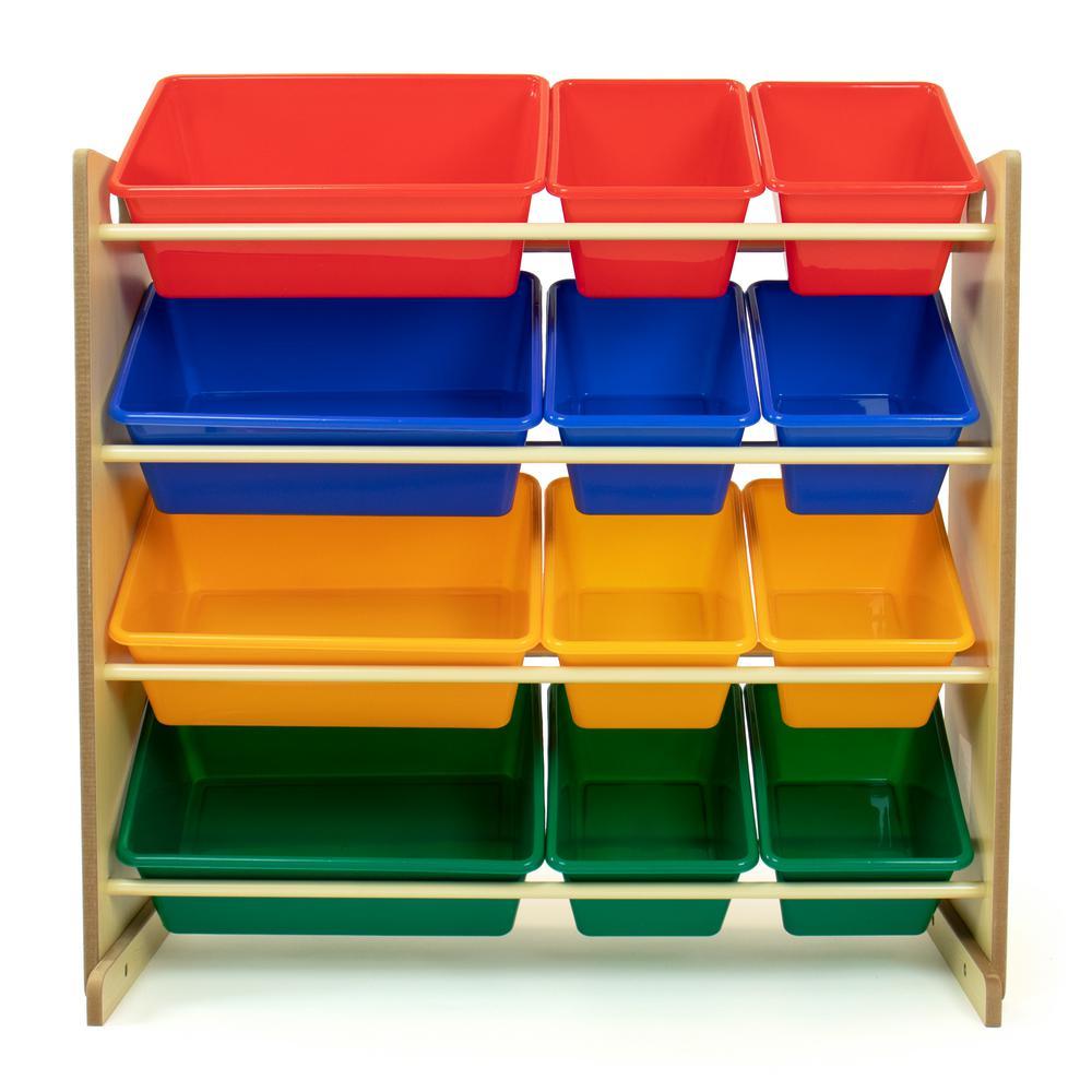 Primary Natural Toy Storage Organizer with 12 Plastic Bins