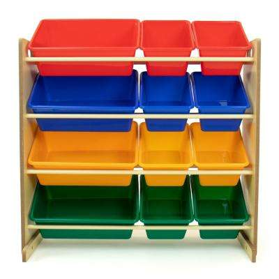 Primary Natural Toy Storage Organizer with 12 Plastic Bins