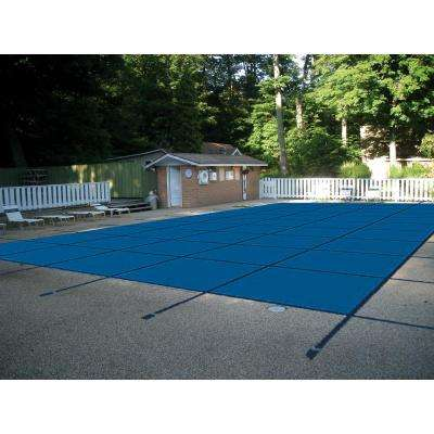 16 ft. x 32 ft. Rectangle Blue Mesh In-Ground Safety Pool Cover Left End Step