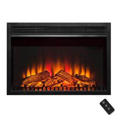 30 in. Freestanding Black Electric Fireplace Insert with Curved Tempered Glass and Remote Control