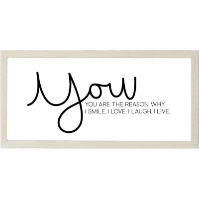 You Are The Reason with Raised Letters, Natural Frame, Magnetic Memo Board