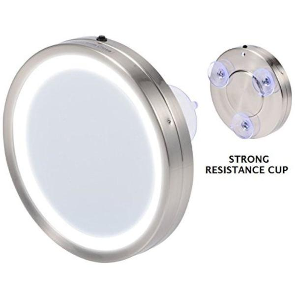 6.0 in. Battery Operated LED Lighted Compact Travel Mirror with 1x or 8x Magnification, Nickel Brushed