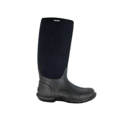 Classic High Women 14 in. Size 10 Black Rubber with Neoprene Waterproof Boot