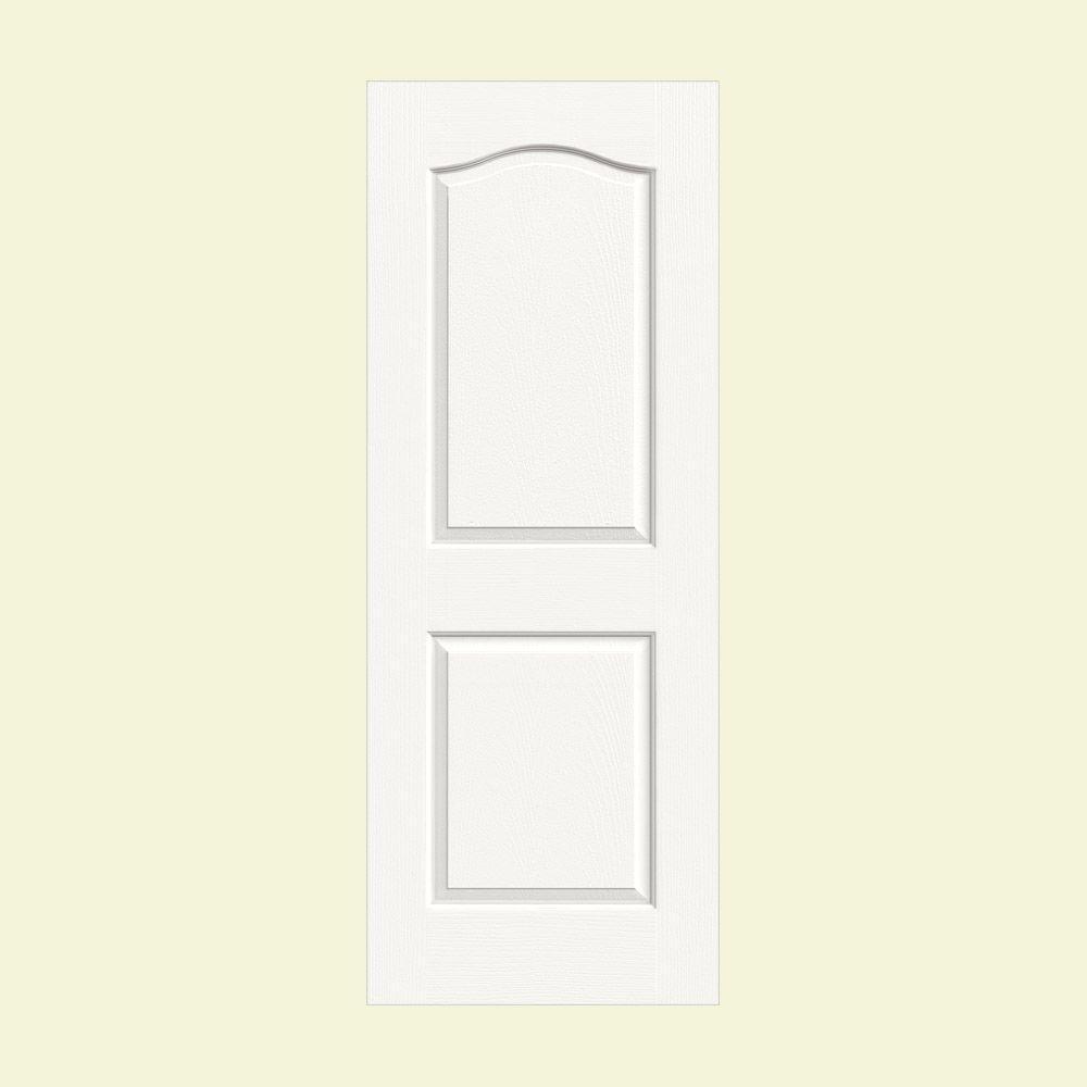 JELD-WEN 30 in. x 80 in. Camden White Painted Textured Solid Core Molded Composite MDF Interior Door Slab