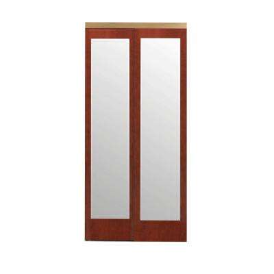 72 in. x 80 in. Mir-Mel Cherry Mirror Gold Trim Solid MDF Interior Closet Sliding Door