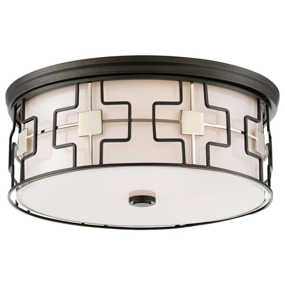 3-Light Dark Grey Bronze with Polished Nickel Flushmount Light