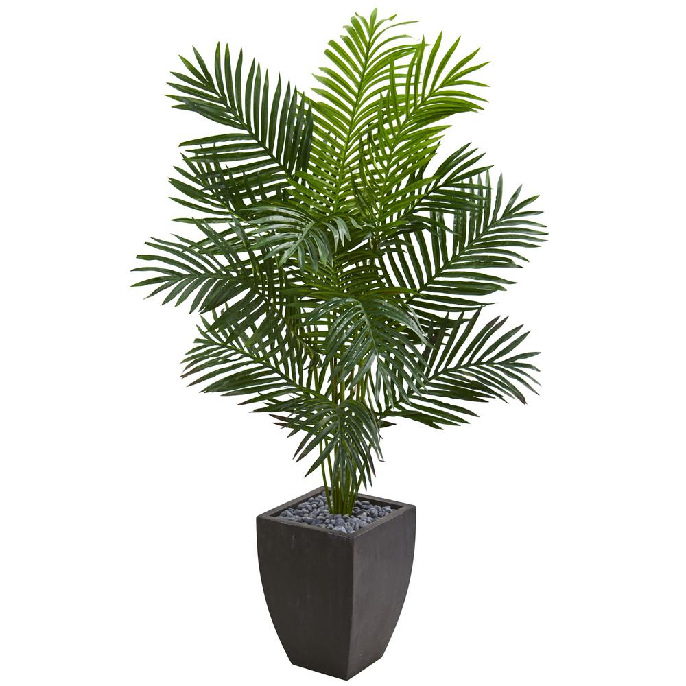 Nearly Natural Indoor 5 5 Ft Paradise Artificial Palm Tree In Black Planter 5640 The Home Depot