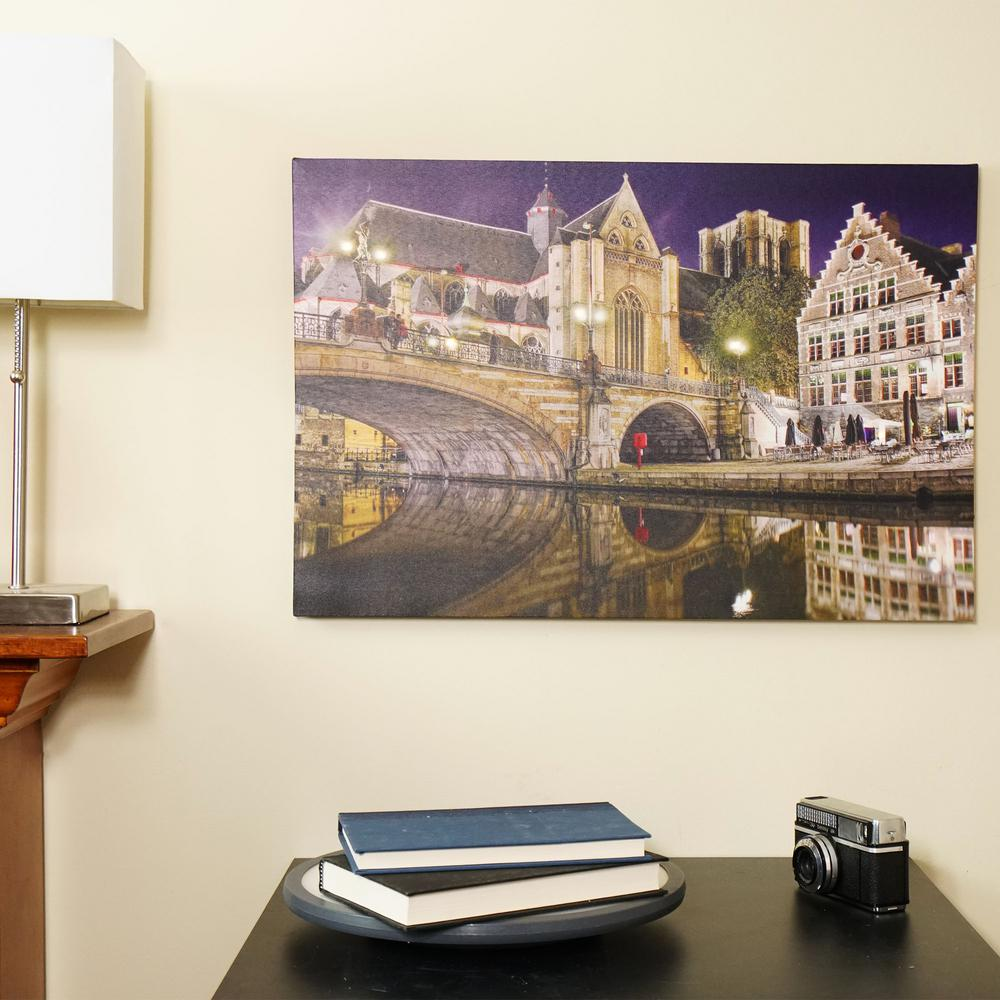Northlight 15 75 In X 23 5 In Led Lighted St Michael S Bridge And Church In Ghent Belgium Canvas Wall Art 32038112 The Home Depot