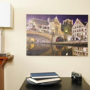 Northlight 15.75 inch x 23.5 inch LED Lighted St. Michael's Bridge and Church in Ghent, Belgium Canvas Wall Art by Northlight