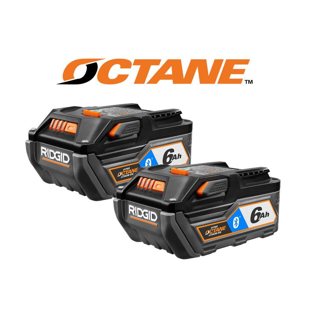 RIDGID 18-Volt OCTANE Bluetooth 6.0 Ah Battery (2-Pack)