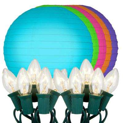 10 in. 10-Light Multi Color Paper Lantern String Lights
