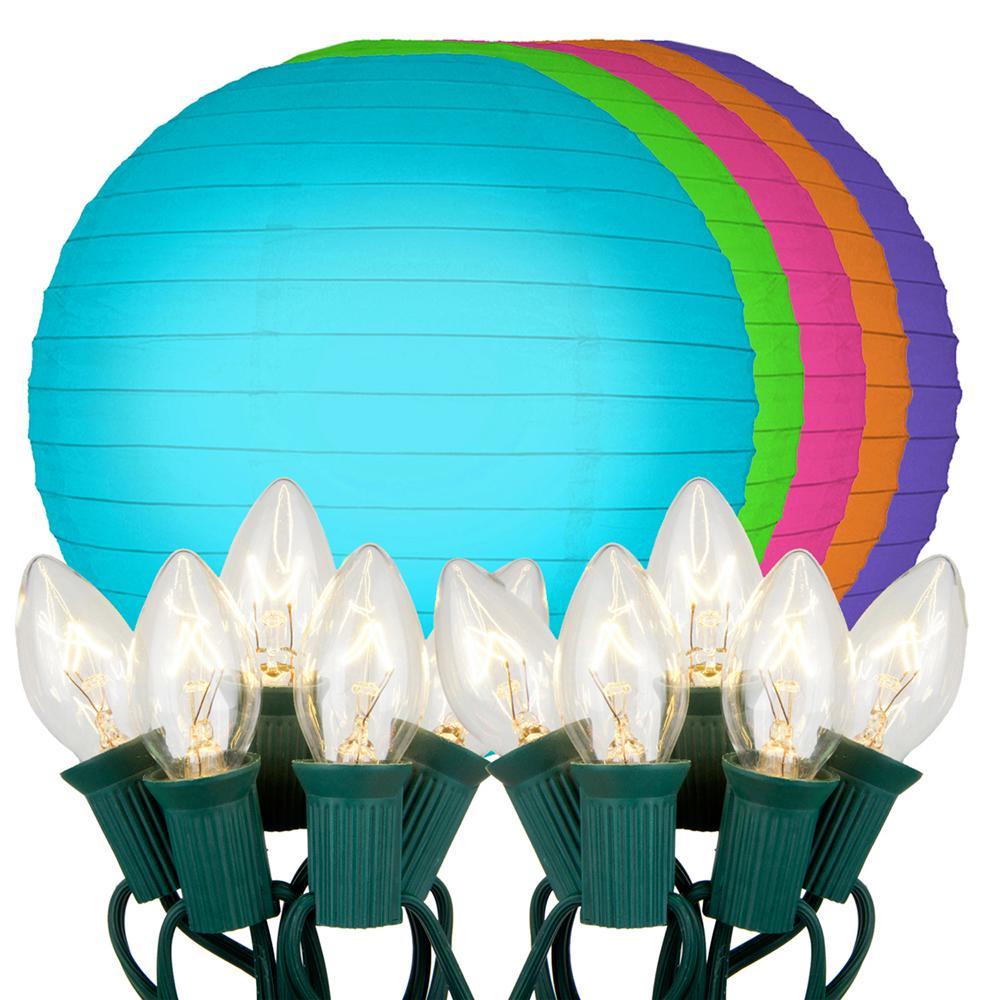 10 in. 10-Light Multi Color Paper Lantern String Lights