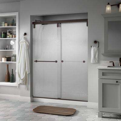 Lyndall 60 in. x 71-1/2 in. Semi-Frameless Mod Sliding Shower Door in Bronze with 3/8 in. (10mm) Rain Glass