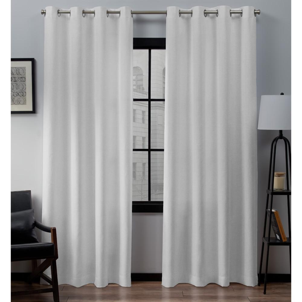 Loha 52 in. W x 96 in. L Linen Blend Grommet Top Curtain Panel in Winter White (2 Panels)