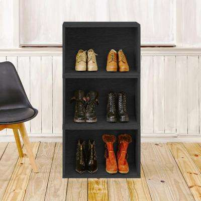 Blox System Venice Eco zBoard Tool Free Assembly Stackable 3-Cubby Modular Bookcase Storage Shelf in Black Wood Grain