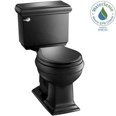 Memoirs Classic 2-piece 1.28 GPF Round Toilet with AquaPiston Flushing Technology in Black Black