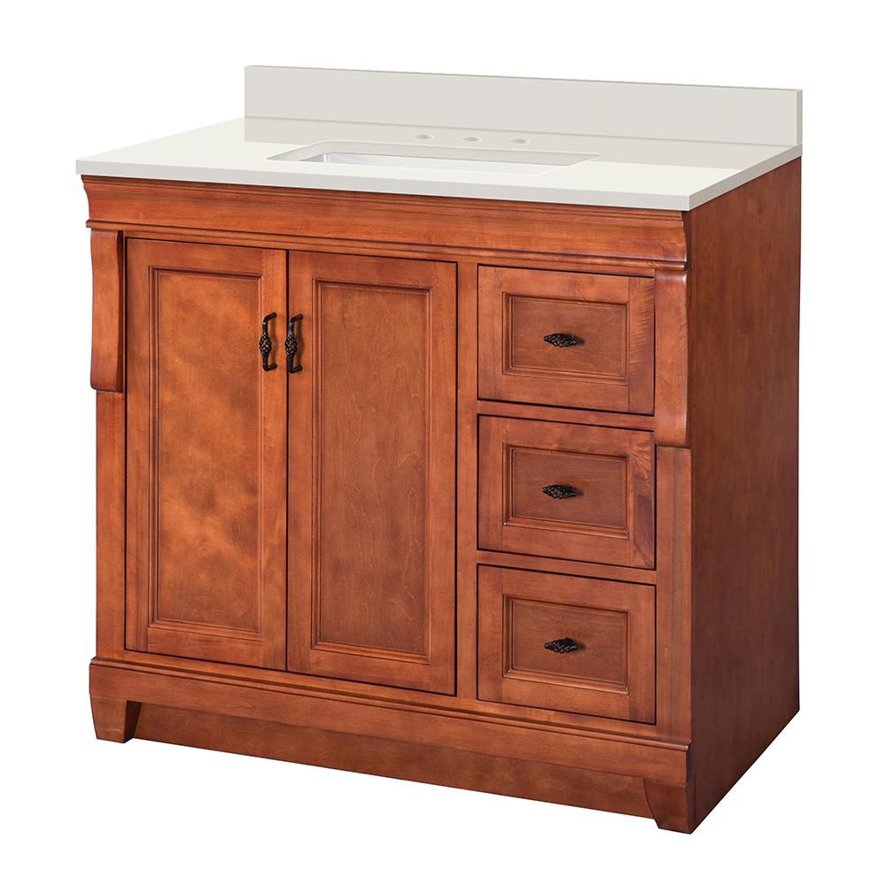 Home Decorators Collection Naples 37 in. W x 22 in. D Vanity in Warm Cinnamon with Engineered Marble Vanity Top in Winter White and Sink in White