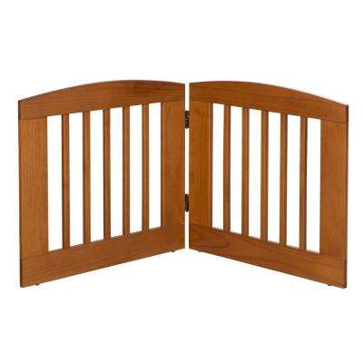 Ruffluv 24 in. H Wood 2-Panel Expansion Chestnut Pet Gate